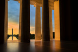 Fototapety Washington Monument from Lincoln Memorial at Sunrise in Washington, DC