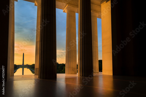 Washington Monument from Lincoln Memorial at Sunrise in Washington, DC Poster