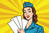 Fototapety Girl retro stewardess with white forms brochure ticket