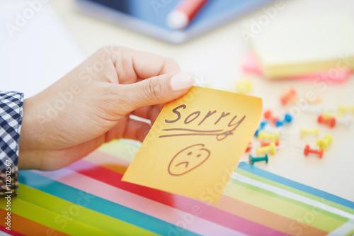 Texte Désolé sur adhésif Note Poster