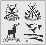 Set of hunting club labels, badges and design elements.