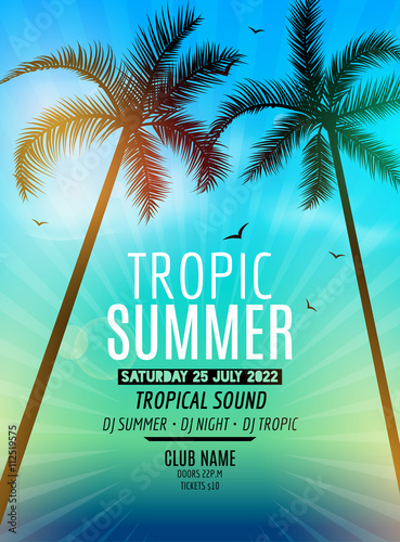 Zdjęcia na płótnie, fototapety, obrazy : Tropic Summer Beach Party. Tropic Summer vacation and travel. Tropical poster colorful background and palm exotic island. Music summer party festival. DJ template.