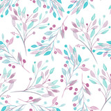 Seamless pattern with the watercolor pink, mint and purple leaves and branches on a white background, wedding decoration, hand drawn in a pastel