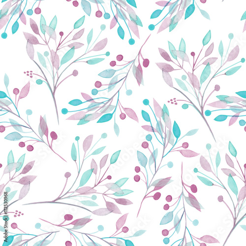 Seamless pattern with the watercolor pink, mint and purple leaves and branches on a white background, wedding decoration, hand drawn in a pastel - 112530968