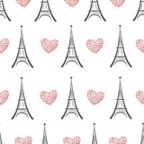 Black and white eiffel tower seamless pattern. Vector background with doodle eiffel towers and red hearts.