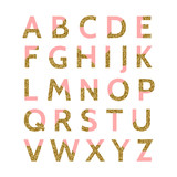 Pink and Gold Glitter Font - 112549313