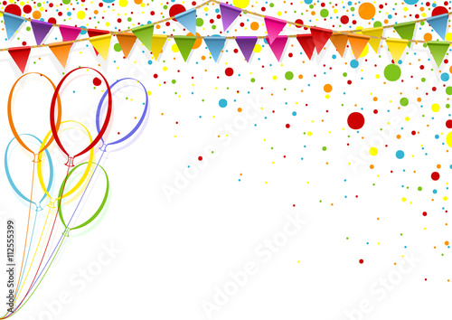Colorful Celebration Background with Party Balloons - Colored Illustration, Vector