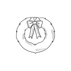 Christmas wreath sketch icon.
