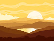Quadro Mountain landscape with yellow sunset