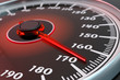 High speed, extreme speeding and drive concept, car dashboard with speedometer dial closeup view