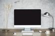 Blank computer monitor on desktop