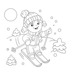 Coloring Page Outline Of cartoon girl riding on skis