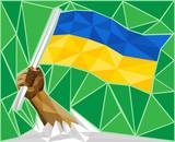 Strong Hand Raising The National Flag Of Ukraine
