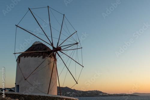 Zdjęcia na płótnie, fototapety, obrazy : Amazing Sunset and White windmills on the island of Mykonos, Cyclades, Greece