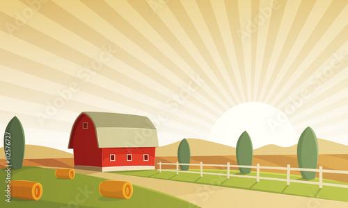 red farm barn at sunset countryside landscape cartoon vector