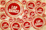 lap dance, red stamp on a grunge paper texture