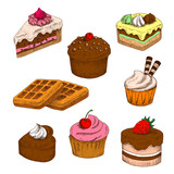 Colored sketches of cakes, cupcakes and waffles