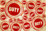 duty, red stamp on a grunge paper texture