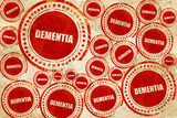 dementia, red stamp on a grunge paper texture