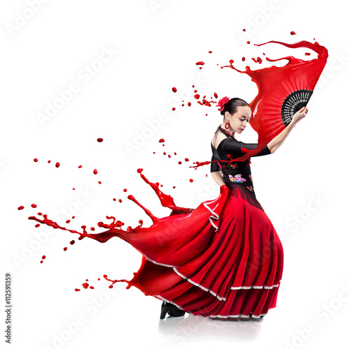 young woman dancing flamenco with paint splashes isolated on whit Plakát