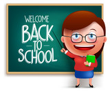 """Back to school teacher funny 3D vector character wearing eyeglasses teaching in a chalkboard isolated in white background. Vector illustration 112565522,Geometric lines vertical."""""""