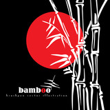 Bamboo stems vector ink pen painting style. Simple black bamboo illustration on black background. Bamboo bush. Bamboo leaves.