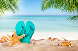 Summer flipflop on sandy beach - 112598356