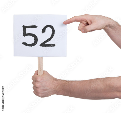 Poster Sign with a number, 52