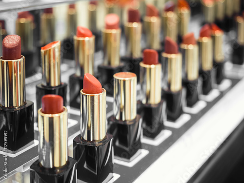 Lipsticks Cosmetic Beauty Tester display in Shop Department store Poster