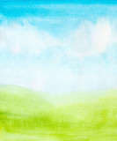 Fototapety watercolor abstract sky, clouds and green grass background