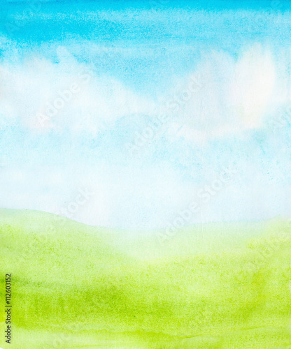 Fotobehang Lime groen watercolor abstract sky, clouds and green grass background