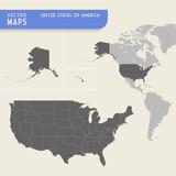Fototapety USA Vector hi quality map