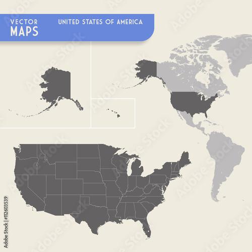 USA Vector hi quality map Poster