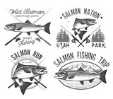 Vintage salmon fishing emblems - 112611942
