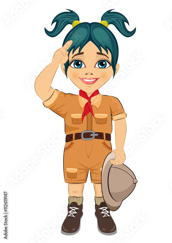 22258903952cc Young happy boy scout girl doing a hand sign and holding Safari hat ...