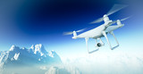 Photo White Matte Generic Design Modern Remote Control Drone with camera Flying in Sky under the Earth Surface. Grand Canyon Background. Horizontal, front side angle view. Film Effect. 3D rendering.