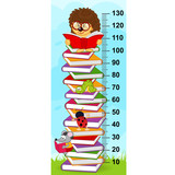 stack of books height measure (in original proportions 1:4) - vector illustration, eps