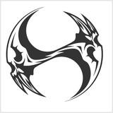 Yin Yang Skull - black and white tattoo design