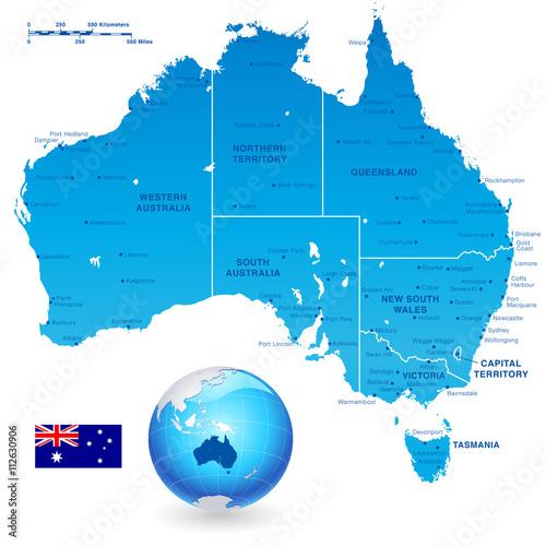 Australia Administrative Map Set Poster