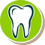 Logo, Signet, Symbol oder Flat Icon zu Zahn, Zahnarzt oder Zahnmedizin