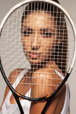 portrait of beautiful fitness sexy woman, tennis player with racket