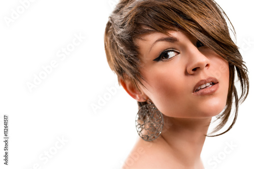 Papiers peints Salon de coiffure Portrait of a beautiful young woman on a white background