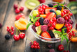 Fresh fruit salad in the bowl - 112642319