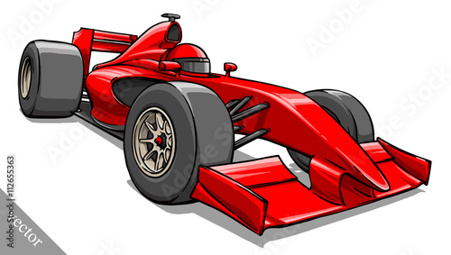 Plexiglas F1 child's funny cartoon formula race car vector illustration art