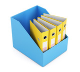 Box with empty folders isolated on white background. 3d render image