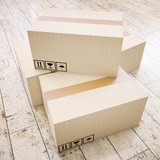 Cardboard boxes on floor