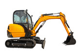 Small or mini excavator isolated with clipping path - 112670555