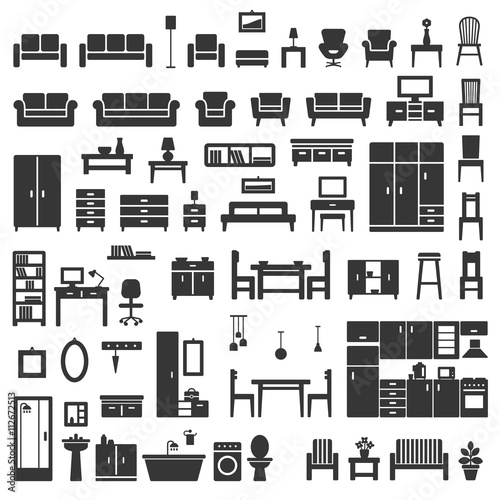Vector home furniture silhouette icons set 1.