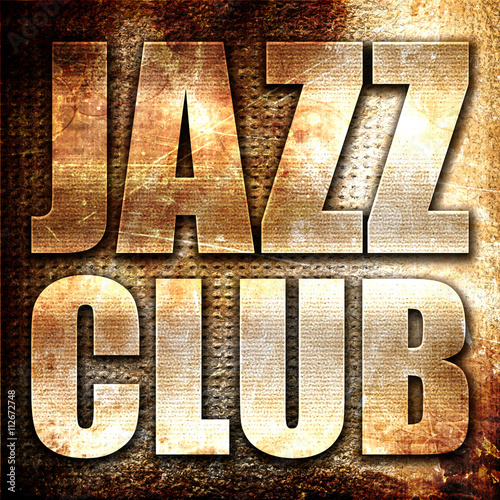 Obraz jazz club, 3D rendering, metal text on rust background
