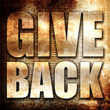 give back, 3D rendering, metal text on rust background